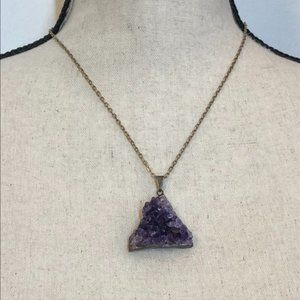Amethyst Geode Raw Pendant Necklace